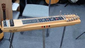 ▲スタンドで立っているスチール・ギター